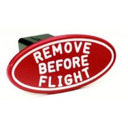 DefenderWorx - 24002 - Remove Before Flight - Red - Oval - 2 Inch Billet Hitch Cover