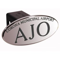 DefenderWorx - 24102 - AJO Corna Municipal Airport - Black - Oval - 2 Inch Billet Hitch Cover