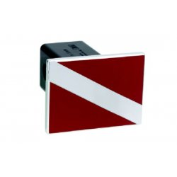DefenderWorx - 25003 - Divers Flag - Red & Polished - Square - 2 Inch Billet Hitch Cover