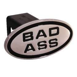 DefenderWorx - 25143 - Bad Ass - Black - Oval - 2 Inch Billet Hitch Cover