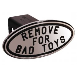 DefenderWorx - 25243 - Remove for Bad Toys - Black - Oval - 2 Inch Billet Hitch Cover