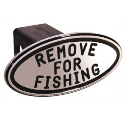 DefenderWorx - 25253 - Remove for Fishing - Black - Oval - 2 Inch Billet Hitch Cover