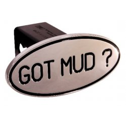 DefenderWorx - 26023 - Got Mud - Black - Oval - 2 Inch Billet Hitch Cover
