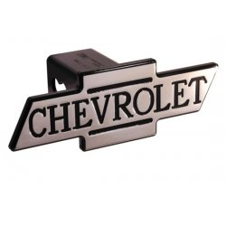 DefenderWorx - 30023 - Chevy - Black - Inscribed Chevrolet - Cutout Bowtie - 2 Inch Billet Hitch Cover
