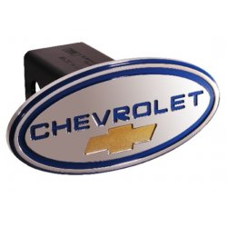 DefenderWorx - 31011 - Chevy - Chevrolet - Blue w/ Gold Bowtie - Oval - 2 Inch Billet Hitch Cover