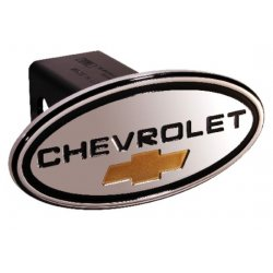 DefenderWorx - 31013 - Chevy - Chevrolet - Black w/ Gold Bowtie - Oval - 2 Inch Billet Hitch Cover
