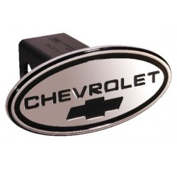 DefenderWorx - 31015 - Chevy - Chevrolet - Black w/ Black Bowtie - Oval - 2 Inch Billet Hitch Cover