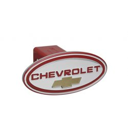DefenderWorx - 31112 - Chevy - Chevrolet - Red w/ Gold Bowtie - Oval - 1-1/4Inch Billet Hitch Cover