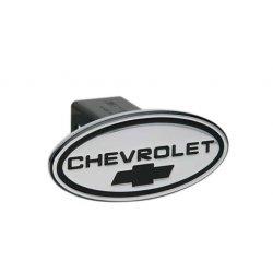DefenderWorx - 31115 - Chevy - Chevrolet - Black w/ Black Bowtie - Oval - 1-1/4Inch Billet Hitch Cover