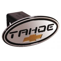 DefenderWorx - 32013 - Chevy - Tahoe - Black w/ Gold Bowtie - Oval - 2 Inch Billet Hitch Cover