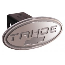 DefenderWorx - 32014 - Chevy - Tahoe - Silver w/ Silver Bowtie - Oval - 2 Inch Billet Hitch Cover