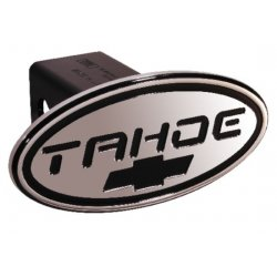 DefenderWorx - 32015 - Chevy - Tahoe - Black w/ Black Bowtie - Oval - 2 Inch Billet Hitch Cover