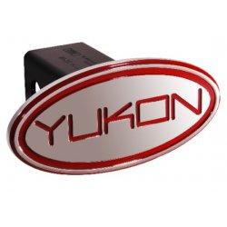 DefenderWorx - 33002 - GMC - Yukon - Red - Oval - 2 Inch Billet Hitch Cover
