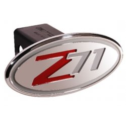DefenderWorx - 34015 - Chevy - Z71 (2001-2005) - Silver & Red - Oval - 2 Inch Billet Hitch Cover