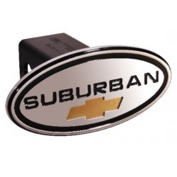 DefenderWorx - 35013 - Chevy - Suburban - Black w/ Gold Bowtie - Oval - 2 Inch Billet Hitch Cover