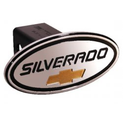 DefenderWorx - 37003 - Chevy - Silverado - Black w/ Gold Bowtie - Oval - 2 Inch Billet Hitch Cover