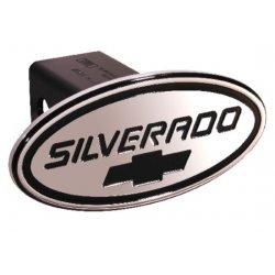 DefenderWorx - 37005 - Chevy - Silverado - Black w/ Black Bowtie - Oval - 2 Inch Billet Hitch Cover