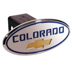 DefenderWorx - 37071 - Chevy - Colorado - Blue w/ Gold Bowtie - Oval - 2 Inch Billet Hitch Cover