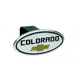 DefenderWorx - 37073 - Chevy - Colorado - Black w/ Gold Bowtie - Oval - 2 Inch Billet Hitch Cover