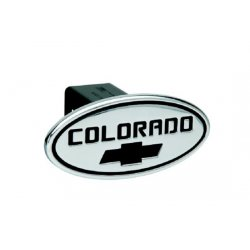 DefenderWorx - 37075 - Chevy - Colorado - Black w/ Black Bowtie - Oval - 2 Inch Billet Hitch Cover