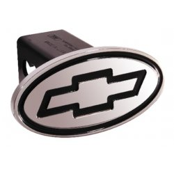 DefenderWorx - 40023 - Chevy - Inscribed Bowtie - Black - Oval - 2 Inch Billet Hitch Cover