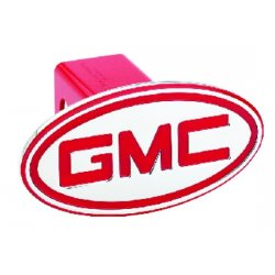 DefenderWorx - 51002 - GMC - Inscribed GMC - Red - Oval - 2 Inch Billet Hitch Cover