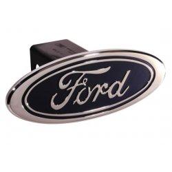 DefenderWorx - 60011 - Ford - Blue - Premium Design - Oval - 2 Inch Billet Hitch Cover