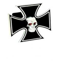 DefenderWorx - 61061 - Iron Cross - Black w/ Chromed Skull - 2 Inch Billet Hitch Cover
