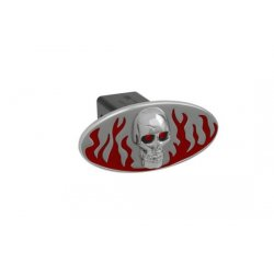 DefenderWorx - 61071 - Flames w/ Chromed Skull - Red - Oval - 2 Inch Billet Hitch Cover