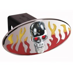 DefenderWorx - 61072 - Flames w/ Chromed Skull - Red & Yellow - Oval - 2 Inch Billet Hitch Cover