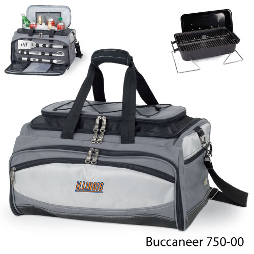 Picnic Time - 750-00-175-212-0 - University of Illinois Embroidered Buccaneer Cooler Grey/Black