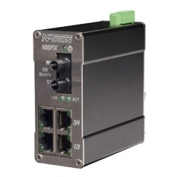 Red Lion Controls - 105FX-ST-MDR - 105FX-ST-MDR - N-Tron 5 port (4 10/100BaseTX, 1 100Base Fiber Uplink) Industrial Ethernet Switch, (Multimode, ST style connector) Metal DIN Rail Connector