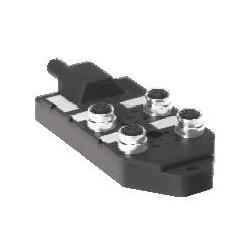 Turck - U2-00912 - 4MB12Z-4P2-5 - Turck Eurofast Low-Profile Junction Box, 4-Port, 1-Signal per Port, PNP LEDs, Integral Cable 4-port J-box; 1 signal per port, Integral cable (U2-00912)