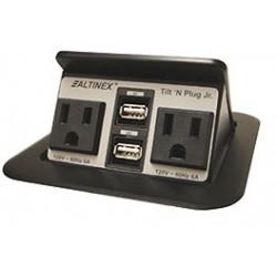 Altinex - TNP155S - Altinex Tilt 'N Plug Jr. Tabletop Interconnect Box (2-USB, 2 Power)
