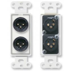 Radio Design Labs (RDL) - DSXLR2MC - Dual XLR 3-pin Male Jacks on D Plate - Solder type - Stainless Steel