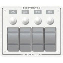 Blue Sea Systems - 8272 - Sw Pnl, Contura w/ Breakers, 4 Sw, White