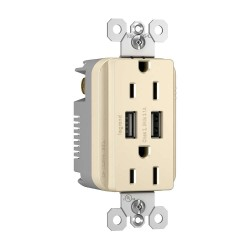 C2G (Cables To Go) / Legrand - 12826 - Radiant Dual USB Charger with Dual 15A Duplex Outlet and Decorator Wall Plate- Light Almond