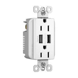 C2G (Cables To Go) / Legrand - 12827 - Radiant Dual USB Charger with Dual 15A Duplex Outlets and Decorator Wall Plate - White