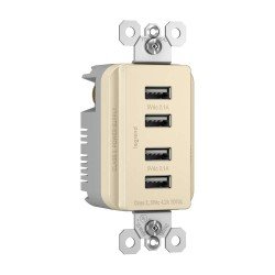 C2G (Cables To Go) / Legrand - 12828 - Radiant 4.2A Four USB Charger Outlet and Decorator Wall Plate - Light Almond