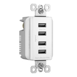 C2G (Cables To Go) / Legrand - 12829 - Radiant 4.2A Four USB Charger Outlet and Decorator Wall Plate - White