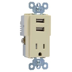 C2G (Cables To Go) / Legrand - 12831 - Dual USB Charger with Single 15A Duplex Outlet and Decorator Wall Plate - Ivory