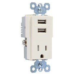 C2G (Cables To Go) / Legrand - 12832 - Dual USB Charger with Single 15A Duplex Outlet and Decorator Wall Plate - Light Almond