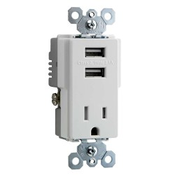 C2G (Cables To Go) / Legrand - 12833 - Dual USB Charger with Single 15A Duplex Outlet and Decorator Wall Plate - White