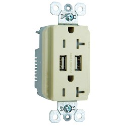 C2G (Cables To Go) / Legrand - 12834 - Dual USB Charger with Dual 20A Duplex Outlet and Decorator Wall Plate - Ivory
