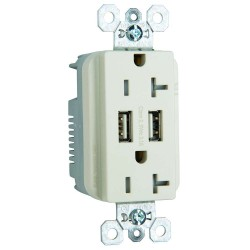 C2G (Cables To Go) / Legrand - 12835 - Dual USB Charger with Dual 20A Duplex Outlet and Decorator Wall Plate - Light Almond