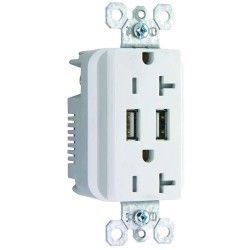C2G (Cables To Go) / Legrand - 12836 - Dual USB Charger with Dual 20A Duplex Outlet and Decorator Wall Plate - White