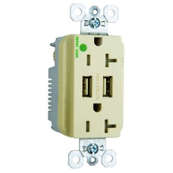 C2G (Cables To Go) / Legrand - 12837 - Hospital Grade Dual USB Charger with Dual 20A Duplex Outlet and Decorator Wall Plate - Ivory