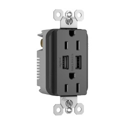 C2G (Cables To Go) / Legrand - 12839 - Radiant Dual USB Charger with Dual 15A Duplex Outlet and Screwless Wall Plate - Black