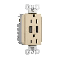 C2G (Cables To Go) / Legrand - 12840 - Radiant Dual USB Charger with Dual 15A Duplex Outlet and Screwless Wall Plate - Ivory