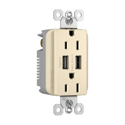 C2G (Cables To Go) / Legrand - 12841 - Radiant Dual USB Charger with Dual 15A Duplex Outlet and Screwless Wall Plate - Light Almond